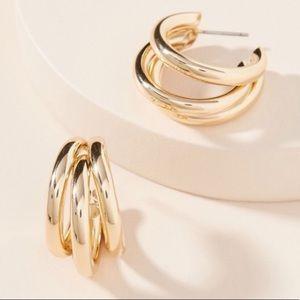 Anthro Lauryn Gold Triple Hoop Earrings!